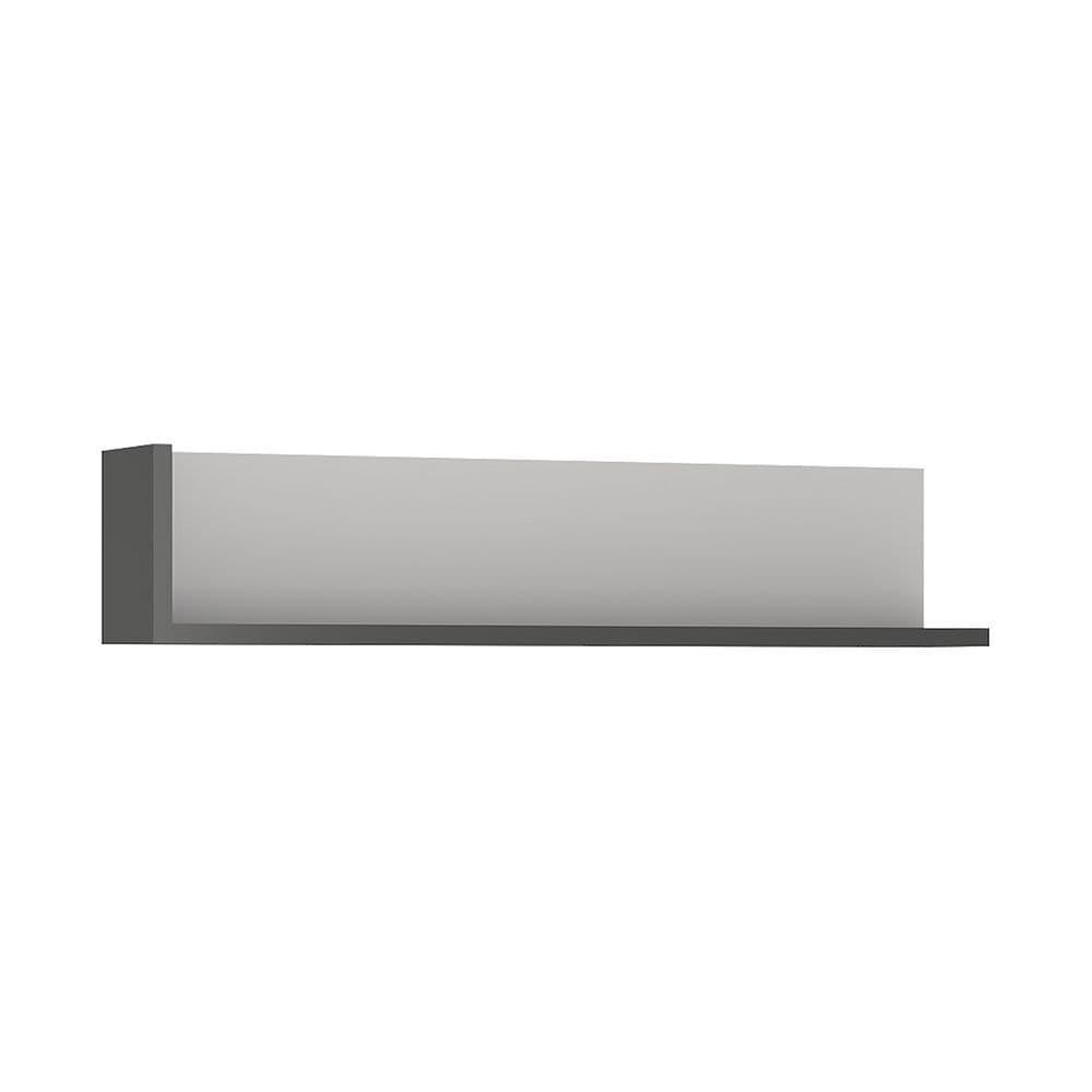 Metropolis 120cm wall shelf in Platinum/light grey gloss